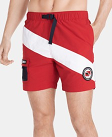 """Tommy Hilfiger Men's 6.5"""" Stripe Graphic Swim Trunks, Created for Macy's"""
