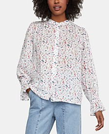 Floral-Print High-Low Blouse