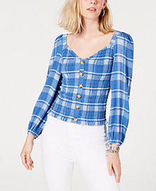 Freshman Juniors' Smocked Button-Front Top