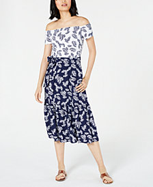 Maison Jules Printed Off-The-Shoulder Dress, Created for Macy's