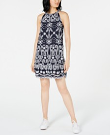 Maison Jules Embroidered Shift Dress, Created for Macy's