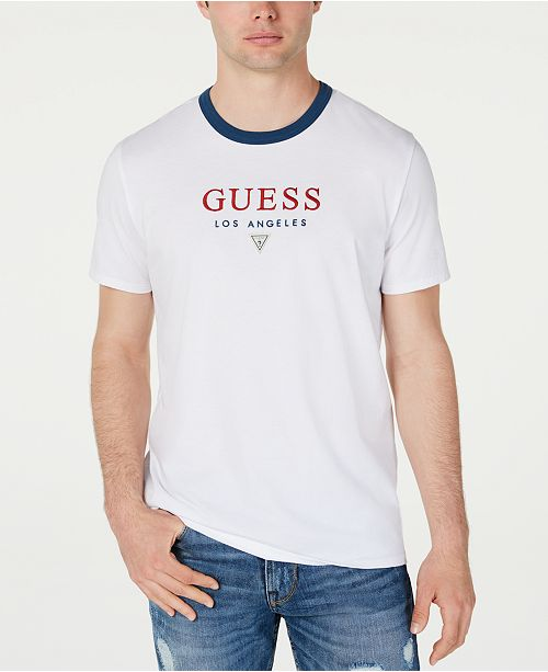 GUESS Men's Logo Graphic Ringer T-Shirt