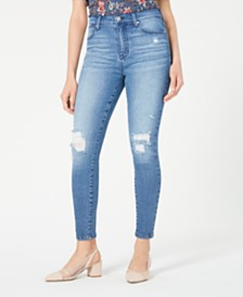 Celebrity Pink Juniors' Ripped High-Rise Skinny Jeans