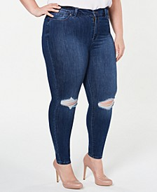 Plus Size  High-Rise Distressed Skinny Ankle Jeans