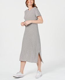 Lucky Brand Cotton Striped Pullover T-Shirt Dress