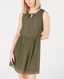 BCX Juniors' Gauze Tie-Front Dress