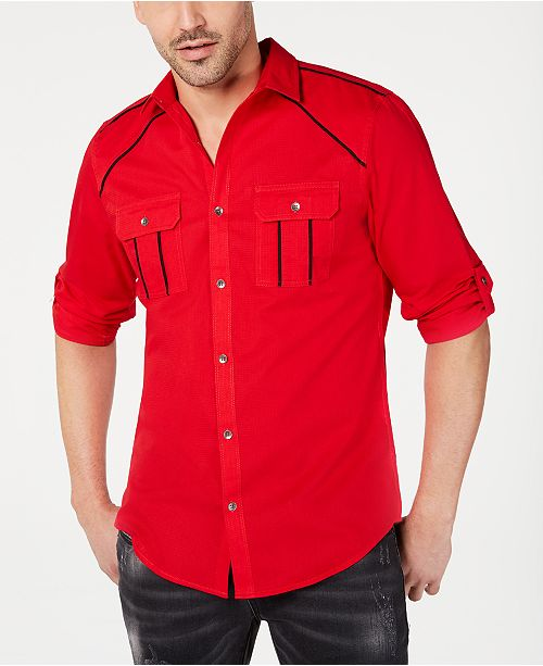 INC International Concepts INC Men's Piped Grid-Pattern Shirt, Created for Macy's