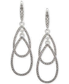 Lauren Ralph Lauren Silver-Tone Pavé Double Drop Earrings