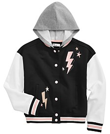 Epic Threads Big Girls Hooded Varsity Jacket, Created for Macy's