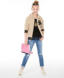 Big Girls NYC Jacket, Fringed T-Shirt & Destructed Jeans, Created for Macy's