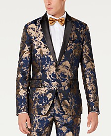 I.N.C. Men's Slim-Fit Gold Foil Leaf Blazer, Created for Macy's