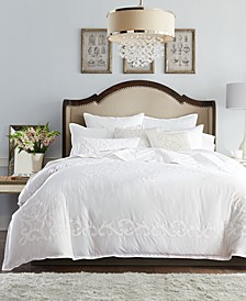 Classic Scroll Appliqué Cotton King Duvet Cover, Created for Macy's