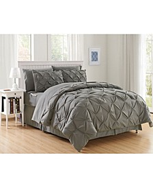 8-Piece Pintuck Bed-in-a-Bag Comforter Set Includes Bed Sheet Set with Double Sided Storage Pockets King/Cal King
