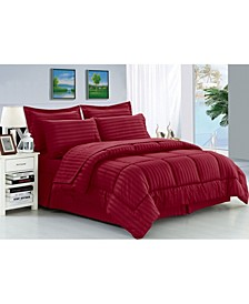 Wrinkle Resistant - Silky Soft Dobby Stripe Bed-in-a-Bag 8-Piece Comforter Set - Hypoallergenic - Full/Queen