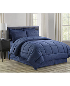 Elegant Comfort Wrinkle Resistant - Silky Soft Vine Bed-in-a-Bag 8-Piece Comforter Set - Hypoallergenic King/California King