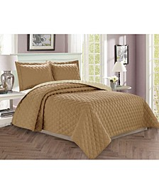 Luxury 3-Piece Bedspread Coverlet Diamond Design Quilted Set with Shams - Full/Queen