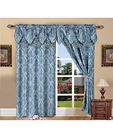 "Elegance Linen Luxury Jacquard Curtain Panel Set with Attached Valance 55"" x 84"" - Set of 2"