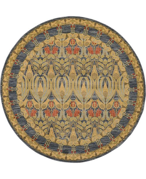 Bridgeport Home Orwyn Orw3 Blue 8' x 8' Round Area Rug