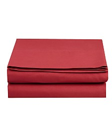 Elegant Comfort Silky Soft Single Flat Sheet Full Burgundy