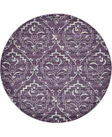 Felipe Fel1 Purple 8' x 8' Round Area Rug