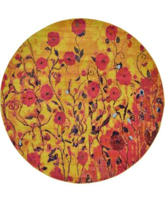 Newwolf New3 Yellow 8' x 8' Round Area Rug