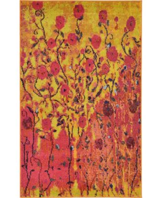 "Newwolf New3 Yellow 3' 3"" x 5' 3"" Area Rug"