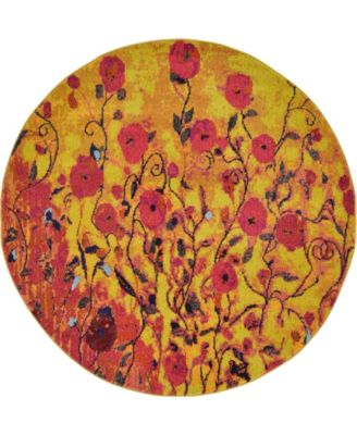 Newwolf New3 Yellow 6' x 6' Round Area Rug