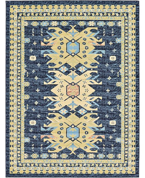 "Bridgeport Home Charvi Chr1 Navy Blue 9' 10"" x 13' Area Rug"