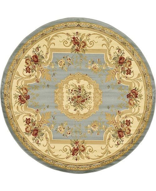 Bridgeport Home Belvoir Blv3 Light Blue 8' x 8' Round Area Rug