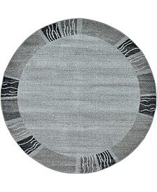 Lyon Lyo1 Light Gray 6' x 6' Round Area Rug