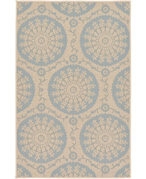 "Bridgeport Home Pashio Pas5 Light Blue 3' 3"" x 5' Area Rug"
