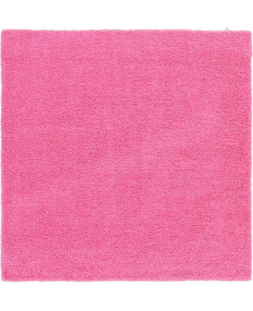 "Bridgeport Home Exact Shag Exs1 Taffy Pink 8' 2"" x 8' 2"" Square Area Rug"
