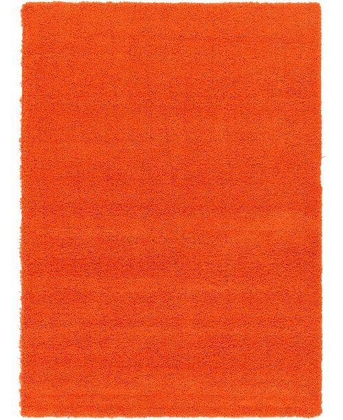 Bridgeport Home Exact Shag Exs1 Tiger Orange 7' x 10' Area Rug