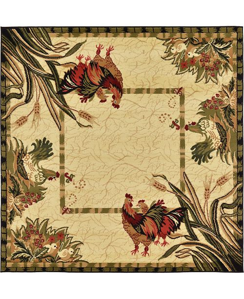 Bridgeport Home Roost Roo1 Ivory 6' x 6' Square Area Rug