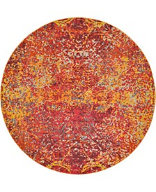 Newwolf New3 Red 8' x 8' Round Area Rug