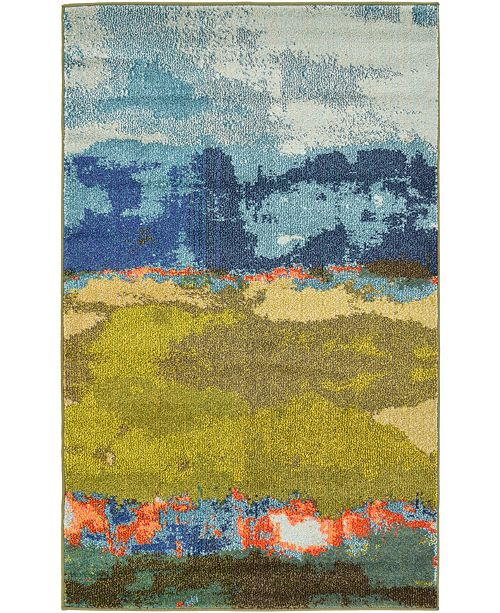 "Bridgeport Home Newwolf New5 Blue 3' 3"" x 5' 3"" Area Rug"