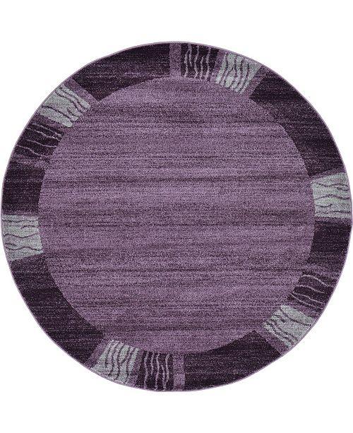 Bridgeport Home Lyon Lyo1 Purple 6' x 6' Round Area Rug
