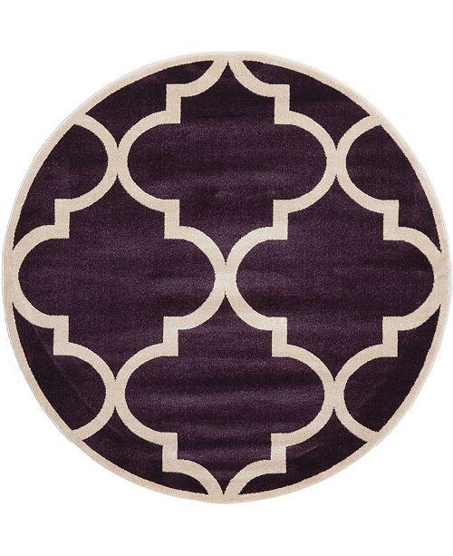 Bridgeport Home Arbor Arb3 Dark Purple 6' x 6' Round Area Rug