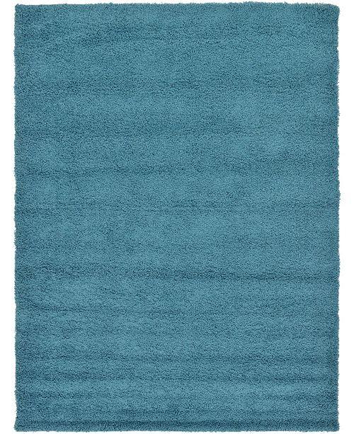 Bridgeport Home Exact Shag Exs1 Deep Aqua Blue 10' x 13' Area Rug