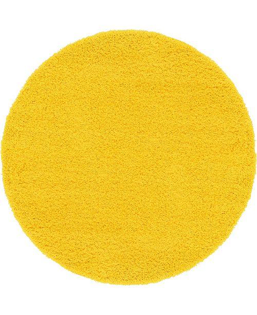Bridgeport Home Exact Shag Exs1 Tuscan Sun Yellow 6' x 6' Round Area Rug