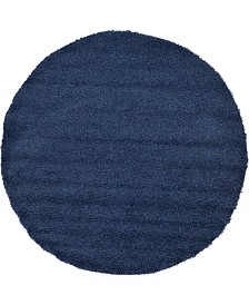 Bridgeport Home Exact Shag Exs1 Navy Blue 6' x 6' Round Area Rug