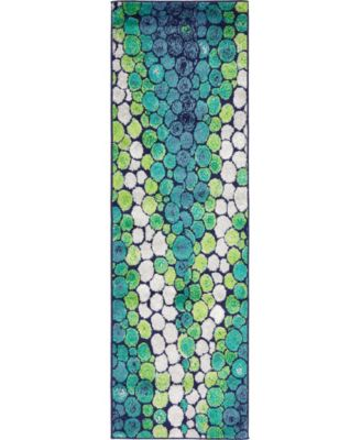 "Politan Pol3 Light Green 2' x 6' 7"" Runner Area Rug"
