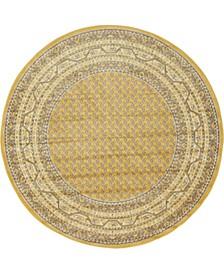 Axbridge Axb1 Yellow 5' x 5' Round Area Rug