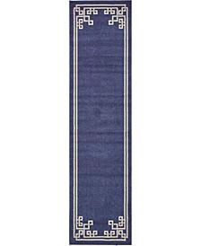 """Anzu Anz3 Navy Blue 2' 7"""" x 10' Runner Area Rug"""