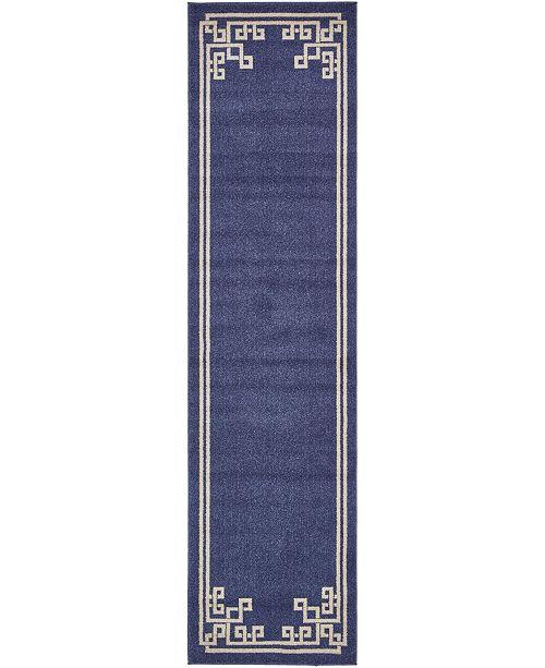 "Bridgeport Home Anzu Anz3 Navy Blue 2' 7"" x 10' Runner Area Rug"