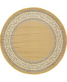 Axbridge Axb1 Yellow 8' x 8' Round Area Rug