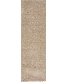 """Salon Solid Shag Sss1 Taupe 2' x 6' 7"""" Runner Area Rug"""