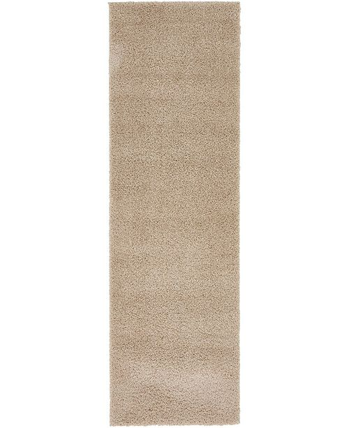 "Bridgeport Home Salon Solid Shag Sss1 Taupe 2' x 6' 7"" Runner Area Rug"