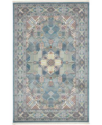 Zara Zar4 Blue 5' x 8' Area Rug