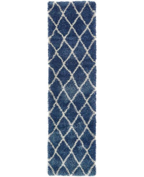 "Bridgeport Home Latisse Shag Lts1 Navy Blue 2' 7"" x 10' Runner Area Rug"